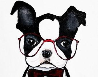 Boston Terrier art, Boston Terrier Painting, Boston Terrier Print, Boston Terrier Wall Art, Boston Terrier Canvas Print, dog art