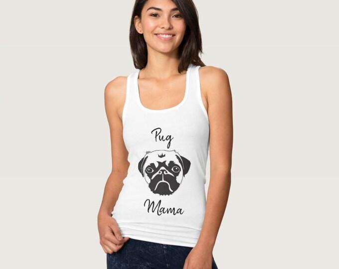 PUG Mama Custom Pug Mom Shirt (or any breed) Pug Lover, Soft Cute Pug Dog Tee, Dog Mom Shirt ,pug art, Customize Dog Shirt