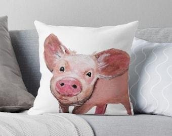 Pig Pillow, Pink Pig Decor, Pig cushion, Pink Hog Pillow, Farmhouse Pillow, Pig Lover Gift, Custom Pig Decor