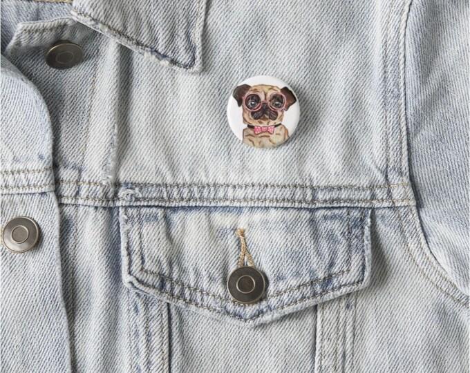 Buttons, Pug Pins, Pug Pinback buttons, pug buttons, pug art, Funny Pug Art, Dog Illustrations, pug painting, pug drawing, dog art