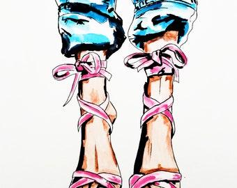 High Heels Wall Art Print, Fashion, Shoes illustration, Fashion Art, Girl Decor, Wall Art, Paper Print