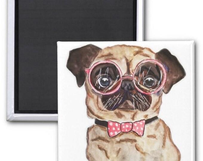 Magnets, Pug magnet, fridge magnets, pug fridge magnet, dog magnet, dog art, pug art, pug painting, pug lover art, pug decor