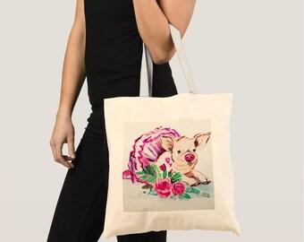 Tote bags, Pig Tote Bag, Pig Canvas Bag, Pig Shopping Bag, Pig art, Pig painting, Pig illustration, Pig drawing, Pig print