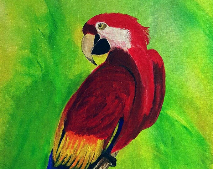 Macaw art, macaw painting, Parrot Tropical Bird, Macaw Wall Art, Green Tropical Leaves, Colorful Home Decor, bird art