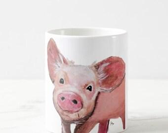 Pig art, pig Painting,  Pig Mug, pig cup, Pig Coffee Mug, Pig illustration, Pig Decor, Pig Ceramic Mug, Pig Cup, Pig drawing
