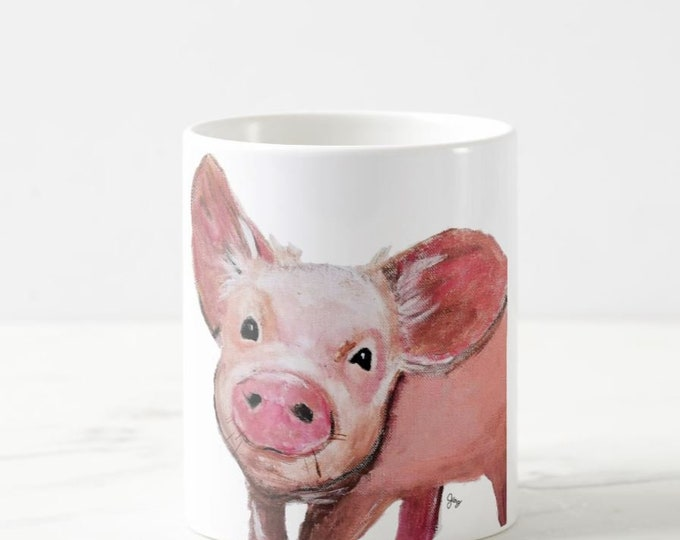 Pig art, pig Painting,  Pig Mug, pig cup, Pig Coffee Mug, Pig illustration, Pig Decor, Pig Ceramic Mug, Pig Cup, Pig drawing