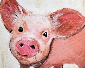 Pig print, Print Pig Art, Pig Painting, Pig Gift, Pig Art, Cute Happy Pig, Baby Animal Print, Farm Animal, Piggy, Piglet