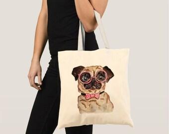 Pug Tote Bag, Pug Canvas Bag, Pug Art, Pug painting, Dog tote bag, dog painting, pug illustration, pug drawing, dog art, dog illustration