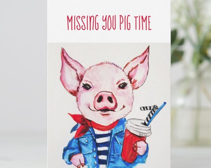 greeting card, Pig Birthday Card, Pig art, Pig Card, Pig lover card, Pink Pig card, Piglet Greeting Card, Farm Animal Card