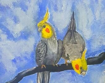 cockatiel portrait print, cockatiel illustration, cockatiel print, pet portrait painting, bird portrait art, interior design
