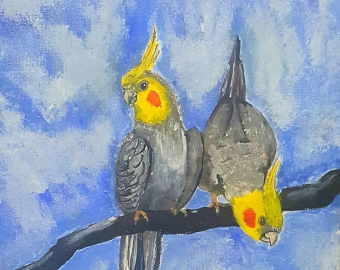 cockatiel art, bird print, cockatiel illustration, cockatiel print, pet portrait painting, bird portrait art, cockatiel painting