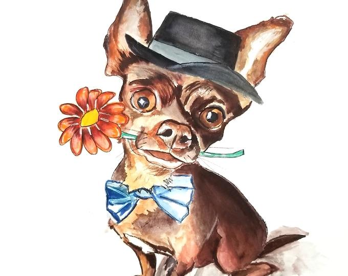 Chihuahua art, Chihuahua Painting, Chihuahua Print, Dog Art, Chihuahua Canvas print, Dog Art Print, Dog Portrait, Dog painting