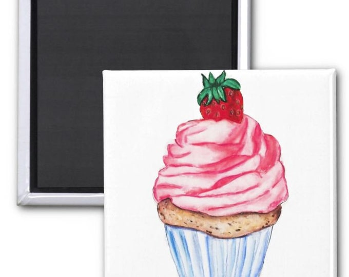 magnets, Cupcake magnets, Cute Fridge Magnets, cupcake art, refrigerator magnets, food magnets, cupcake painting, food art