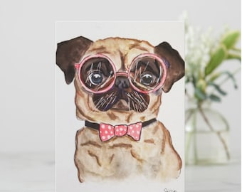 Greeting Cards, Pug Greeting Card, Pug Note Cards, Pug Stationery, Dog Greeting Cards, Blank Card, Pug Lover Card, Pet Stationery