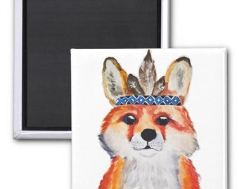 magnets, Fox Fridge magnet, Red fox magnet, redfox art, Refrigerator magnets, Kitchen Magnets, Cute fox magnets