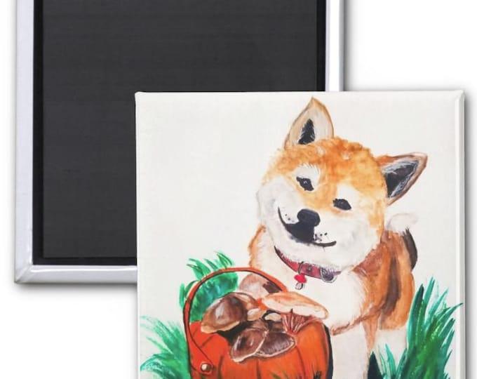 Magnets, Shiba Inu magnet, Shiba Inu fridge magnet, refrigerator magnet, shiba inu art, shiba inu painting, shiba inu illustration