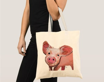 Tote bag, Pig tote, Shopper Bag, Cute Pink Pig tote bag, Pig Canvas Tote Bag, Animal Shoulder Bag, pig art, pig painting, pig illustration