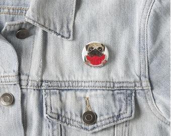 buttons, Pug Pin, Pug Pinback Button Pin, Pug button, Pug art, Pug Button Pin, Pug Painting, Pug Illustration, dog button, dog art