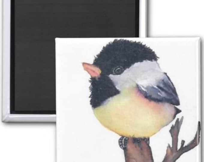 Magnets, Chickadee Magnet, bird magnets, chickadee art, chickadee painting, Bird art, Bird Decor, bird painting, bird illustration