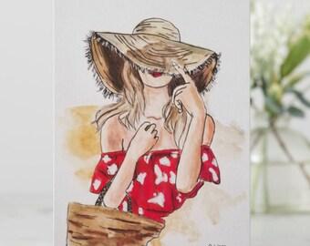 Greeting card, Custom card, Fashion card, Fashionista card, Special occasion card, beachy card, fashion stationery, summer stationery