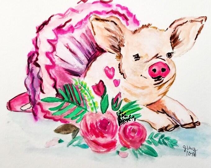 Pig art, Pig Painting, Cute Pig art, pig art canvas, Pig Illustration, Pig print, Pig lovers gift, pig canvas print, pig wall decor
