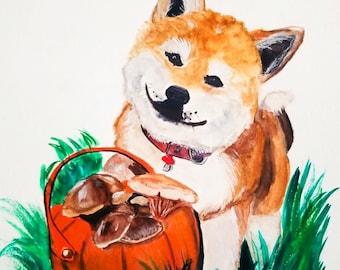 Shiba Inu painting, Shiba Inu Drawing, Shiba Inu Art Print, Shiba Inu Poster, Shiba Inu art, Shiba Inu Dog, Dog Painting, Japanese Dog art