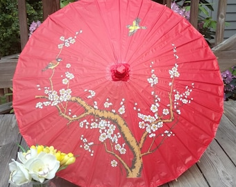 FAST, Free U.S. Shipping, GIFT with Purchase! Parasol / Sun Umbrella - Red with Cherry Blossoms - Weddings, Bridal Showers, Special Events
