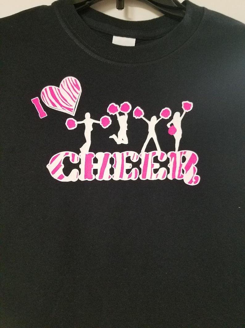 cheer shirt Adult size animal print youth size I heart cheer Long sleeve zebra print