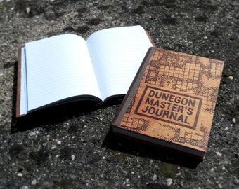 Wooden DM Journal for Tabletop Games (Dungeons and Dragons, Pathfinder Etc.) with Custom Woodburned Engraving
