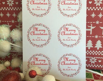 Christmas Gift Tags  Unique Customized Gift Peace and Love Christmas Tags 2.5 Inches Round
