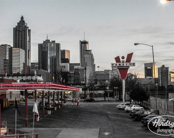 Varsity Atlanta, famous, world largest, drive-in, restaurant, black and white, photography