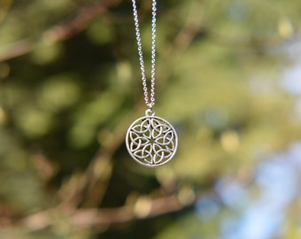 Six Trinity Knot Pendant Necklace - Silver, Celtic knot, chain necklace, jewelry