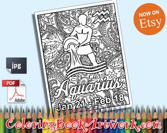 Aquarius Zodiac Sign Printable Adult Coloring Book Page Instant Downloadable JPG PDF Trendy Instagram Quirky Sweary Words Digital