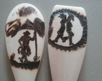 Country Cowboy and Cowgirl Wood Burned Spoon And Spatula Set of 2