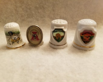 Porcelain China Thimbles Set of Three Vintage Wine Advertising Posters