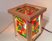 Abstract Wood Stained Glass Lamp