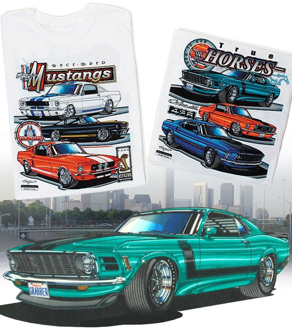 Custom Art T-Shirt for 1966 66 289 hardtop GT Mustang not affiliated with ford