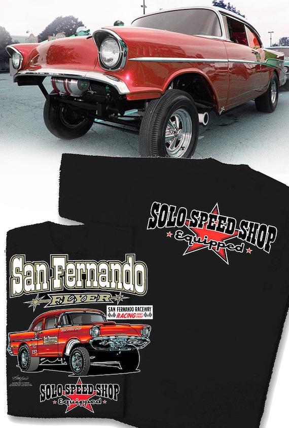 57 Chevy T Shirt Gasser Speed Shop 1957 Drag Strip Classic Car Shirt Hot Rod Tee