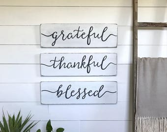 "living room decor | grateful, thankful, blessed signs| farmhouse  decor | farmhouse wall decor | wood sign | rustic wall decor | 24""x 7.25"""