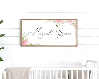 girl name sign | girl name decor | girl room decor | girl nursery decor | wood framed sign | wall decor