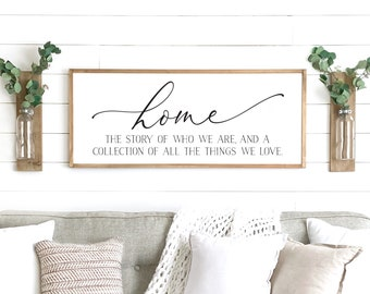 home sign | home the story of who we are sign | home decor sign | farmhouse wall decor | wood framed sign