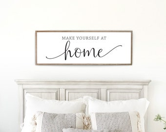 Make yourself at home sign | guest room sign | guest room wall decor | farmhouse wall decor | wall decor for guest room