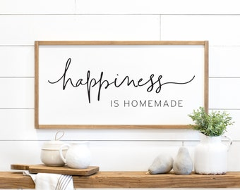 kitchen sign   happiness is homemade sign   wood sign   kitchen wall decor   farmhouse sign   farmhouse kitchen decor