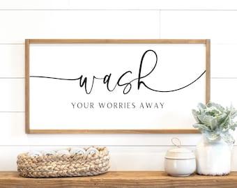 bathroom sign | wash your worries away sign | sign for bathroom | bath sign | bathroom wall decor | bath decor