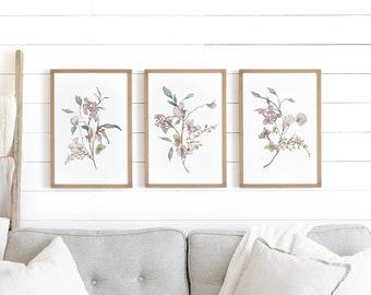 floral wall art framed | watercolor floral print set | wildflower wall art | wood signs | botanical wall art