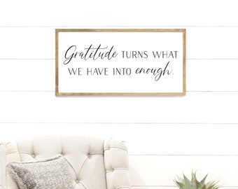 8x8 Wooden Sign {Gratitude Turns What We Have Into Enough} Thanksgiving Decor Thanksgiving Decoration Thanksgiving Table Fall Home Decor