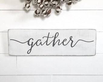 "Gather sign | farmhouse wall decor | farmhouse wood sign | wood sign | rustic wood sign | rustic wall decor | 24""x 7.25"""