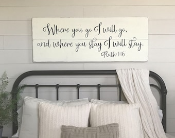 master bedroom wall decor. Bedroom Wall Decor | Where You Go I Will Wood Signs Sign Master 48\ E