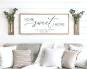 Home sweet home sign wood framed sign home wall decor farmhouse wall decor home sign family name sign