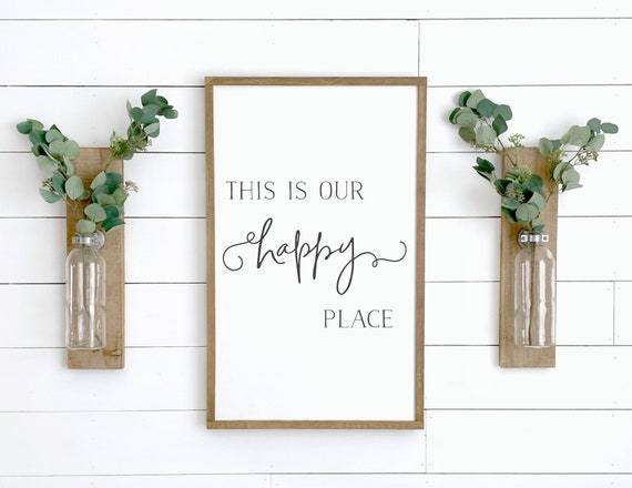 Custom wall decor Happiness is homemade Home wall decor Farmhouse decor Framed wood sign Kitchen sign